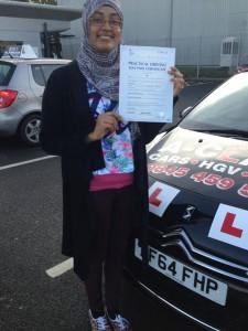 Aisha passes driving test